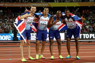 LONDON, ENGLAND - AUGUST 12: Chijindu Ujah, Adam Gemili, Daniel Talbot and Nethaneel Mitchell-Blake of Great Britain celebrate winning gold in the Men's 4x100 Relay final during day nine of the 16th IAAF World Athletics Championships London 2017 at The London Stadium on August 12, 2017 in London, United Kingdom. (Photo by Alexander Hassenstein/Getty Images for IAAF)