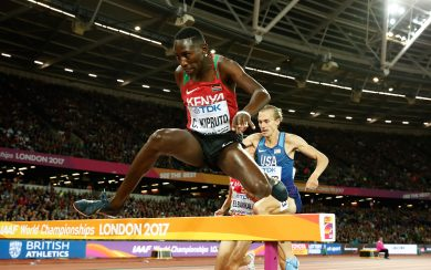 LONDON, ENGLAND - AUGUST 08:  Conseslus Kipruto of Kenya competes in the Men's 3000 metres Steeplechase final during day five of the 16th IAAF World Athletics Championships London 2017 at The London Stadium on August 8, 2017 in London, United Kingdom.  (Photo by Andy Lyons/Getty Images for IAAF)