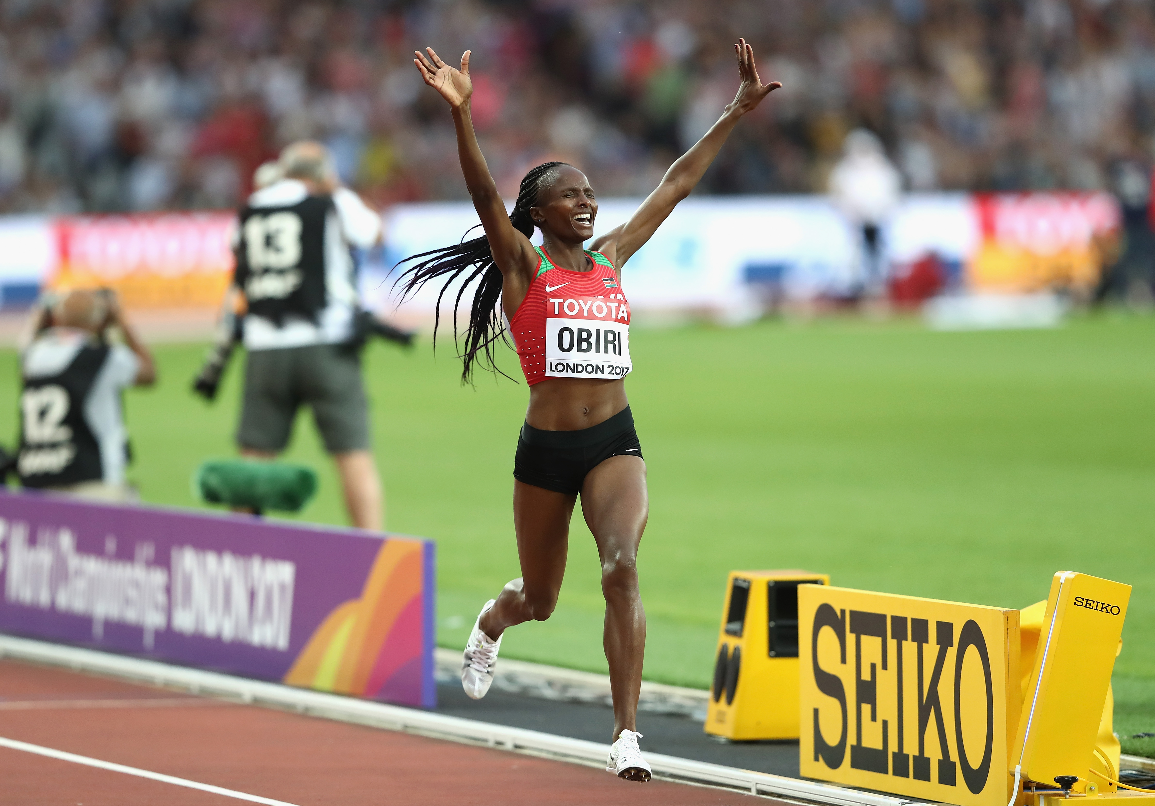 LONDON, ENGLAND - AUGUST 13:  Hellen Onsando Obiri of Kenya crosses the finish line to win gold in the Women's 5000 metres final during day ten of the 16th IAAF World Athletics Championships London 2017 at The London Stadium on August 13, 2017 in London, United Kingdom.  (Photo by Alexander Hassenstein/Getty Images for IAAF)