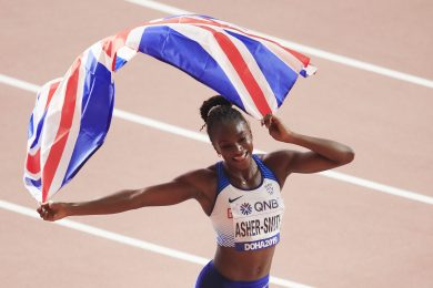DOHA, QATAR - OCTOBER 02: Dina Asher-Smith of Great Britain celebrates after winning gold in the Women's 200 metres final during day six of 17th IAAF World Athletics Championships Doha 2019 at Khalifa International Stadium on October 02, 2019 in Doha, Qatar. (Photo by Andy Lyons/Getty Images for IAAF)